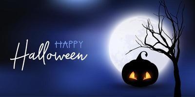 Banner di Halloween con zucca spettrale contro il cielo illuminato dalla luna vettore