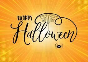 Testo di Halloween su sfondo starburst vettore
