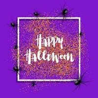 Priorità bassa di Halloween con i ragni sulla struttura bianca vettore
