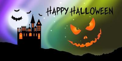 Banner di Halloween con faccia di castello e zucca vettore