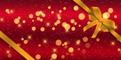 Banner di Natale con nastro d'oro vettore