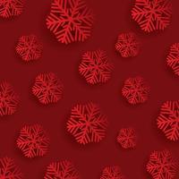 Fiocchi di neve di Natale su uno sfondo rosso vettore