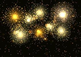 Fuochi d'artificio d'oro sfondo di visualizzazione vettore