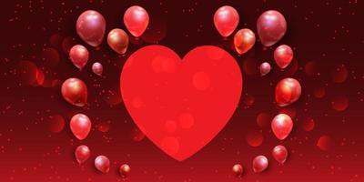 Banner di San Valentino con cuore e palloncini