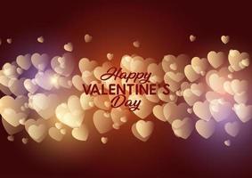 Design Gold Glowing Hearts per San Valentino vettore