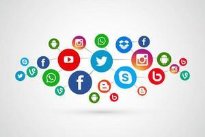 Collegamento icone social media scenografia vettore
