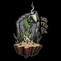 mano di zombie di caffè vettore