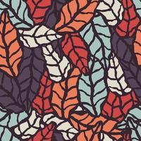 Modello senza cuciture con foglie naturali disegnate a mano