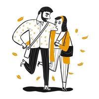Giovani coppie romantiche che camminano insieme. vettore