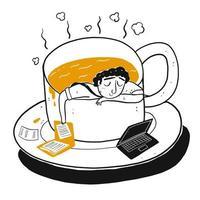 Uomo del fumetto che dorme o che riposa in tazza di caffè