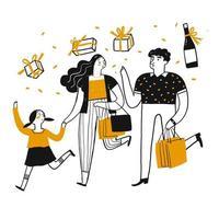 Shopping in famiglia dei cartoni animati vettore