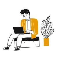 Uomo del fumetto sul computer portatile