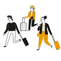 Turisti, viaggiatori che tirano valigie