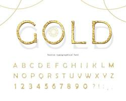 Carattere 3d glitter oro. Lettere e numeri ABC di lusso d'oro. vettore