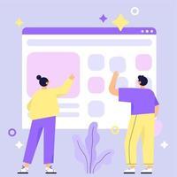 Costruzione di un sito Web con due persone vettore