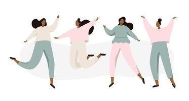 Gruppo di donne danzanti felici vettore