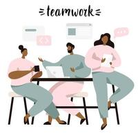 Brainstorming e lavoro di squadra, persone che discutono di idee vettore