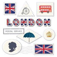 Set di affrancatura di Londra. Francobolli britannici decorativi. vettore