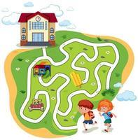 Bambini che vanno a scuola gioco del labirinto vettore