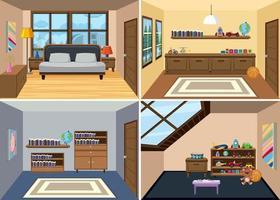 Un set di sfondo interni camera