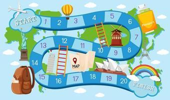 Tema di viaggio modello gioco da tavolo