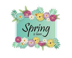 Design di vendita di primavera con fiori e cornice rettangolare vettore