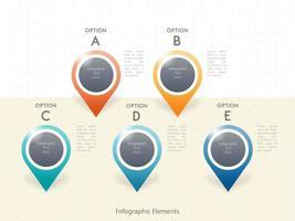 Progettazione del modello di cinque opzioni di infografica vettore