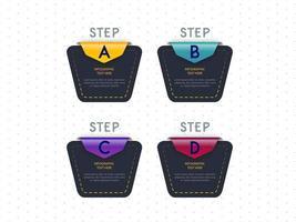 Progettazione geometrica del modello in quattro fasi di Infographic vettore