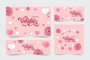 Set di banner di San Valentino con fiori e cuori vettore