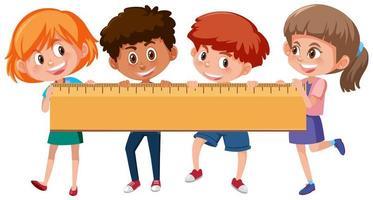 Quattro bambini con un righello vettore