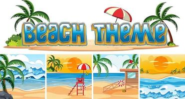 Set di sfondo spiaggia vettore