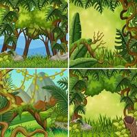 Un set di paesaggio della giungla vettore