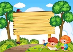 I bambini studiano in natura e insegna