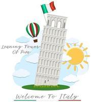 Benvenuti in Italia con la torre pendente di Pisa vettore