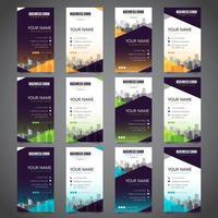 Set di biglietti da visita con vari colori alternativi vettore