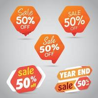 Set di 50 segni di vendita arancione vettore