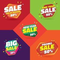 Set di vendita 50 per cento di sconto segni vettore