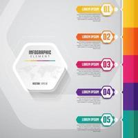 Timeline Infographics Design con 5 passaggi e bordo colorato