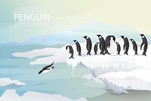 Pinguini e famiglia su sfondo di ghiaccio