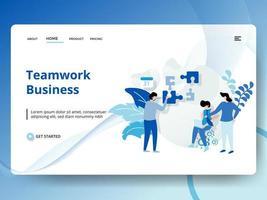 Pagina di destinazione attività di lavoro di squadra con operai e puzzle