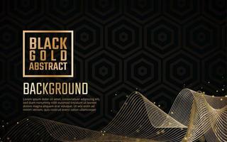 Oro nero elegante ricciolo e sfondo esagonale vettore