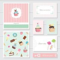 Modelli di carte carini impostati per negozio di dolci o prodotti da forno vettore