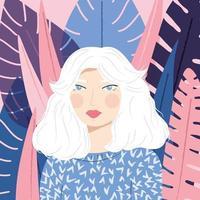 Ritratto di una ragazza con i capelli bianchi con maglione fantasia