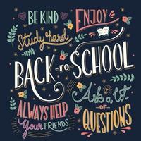 Torna a scuola colorati messaggi tipografici vettore