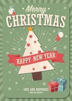 Cartolina di Natale con albero e scatole regalo su sfondo invernale