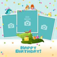 Modello del collage di buon compleanno dei tre bambini della struttura della foto vettore