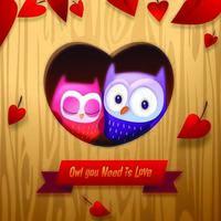 Coccole romantiche dei gufi di San Valentino nella casa dell'albero vettore