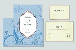 Set di biglietti d'invito matrimonio floreale blu fiorisce. vettore