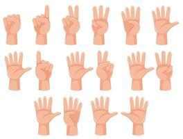 Mano umana e gesto numero vettore