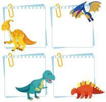 Set di dinosauro su modelli di nota vettore
